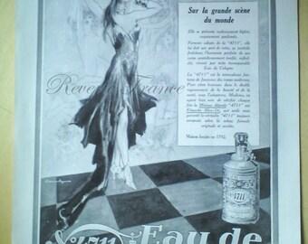 Vintage French Ad-Parfums 4711 Eau de Cologne Paris 1929