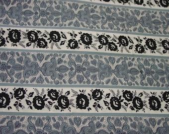 "Striking Vintage Cotton Fabric, Black,White,Grey Print, 36"" Wide, 2 Yards 32"""