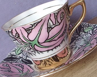 Vintage 1940's Pink and Black tea cup, Rosina English teacup and saucer, Black and White bone china teacup, Antique teacup,