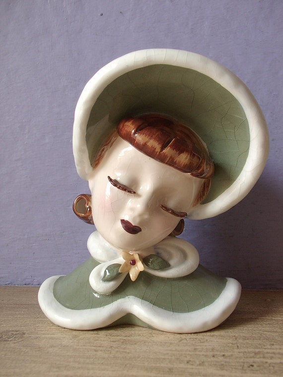 Vintage 1960's Lefton head vase, Ginger, 1940's hat, green ceramic vase, Green & white pottery wall pocket, 1940's fashion decor,