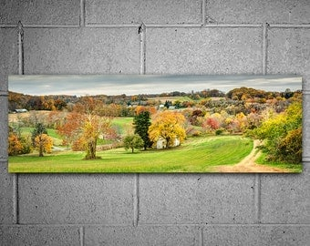 Autumn Country Landscape Panoramic Metal Print 12x36 inch Hanging Wall Art, Large Photography Decor, Ready to Hang Art