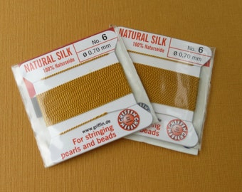Natural Silk Cord With Needle - 2 packs - Size 6 - Amber