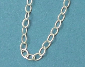 Sterling Silver Chain - Textured Cable Chain - 4x2.7mm - Textured - One Foot