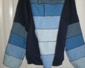 Elf Style zip front hooded sweatshirt, pixie jacket, fairy jacket, UNISEX adult small, medium or 2XL, Navy blue with blue rainbow