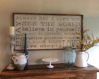 Family Rules - Framed Sign - All hand painted and built - We can do any saying or colors