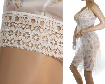 Delightful 1960's vintage silky soft sheer ivory, pink and moss green floral design nylon and ivory lace detail full slip petticoat - 3282