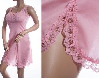 NWT unworn vintage full slip. Charmor glossy silky rose pink nylon and delicate see through lace detail 1970's full slip petticoat - 3313