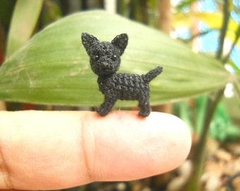 Black Chihuahua Dog - Tiny Amigurumi Micro Crochet Miniature Dog Stuffed Animal - Made to Order