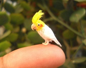 Cockatiel Cockatoo - Micro Amigurumi Miniature Crochet Bird Stuffed Animal - Made To Order