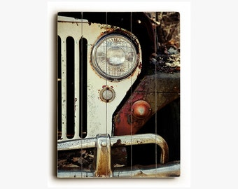 Jeep Sign, Wood Plank Jeep Picture, Vintage Jeep Photography, Rustic Jeep Print on Wood, Ready to Hang Jeep Print, WWII Jeep Willys, Cars.