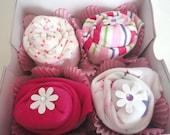 ON SALE 25% OFF Onesie Cupcake Gift Set,  Baby Girl Shower Gift