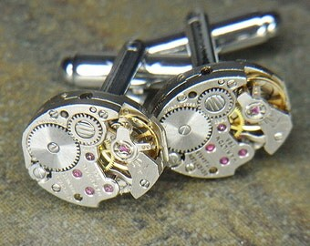 Steampunk Cufflinks Cuff Links - Torch SOLDERED - Vintage Silver HAMILTON Watch Movements - Wedding, Anniversary Gift - Cool Set