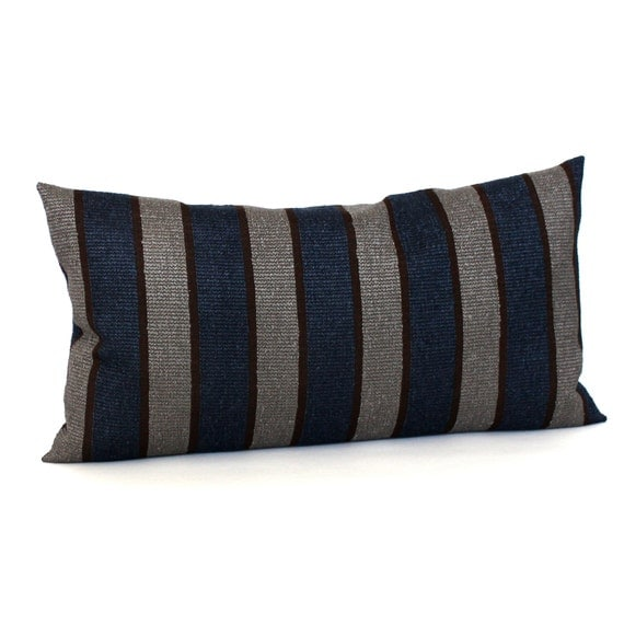 lumbar pillow cover blue brown grey striped upholstery. Black Bedroom Furniture Sets. Home Design Ideas