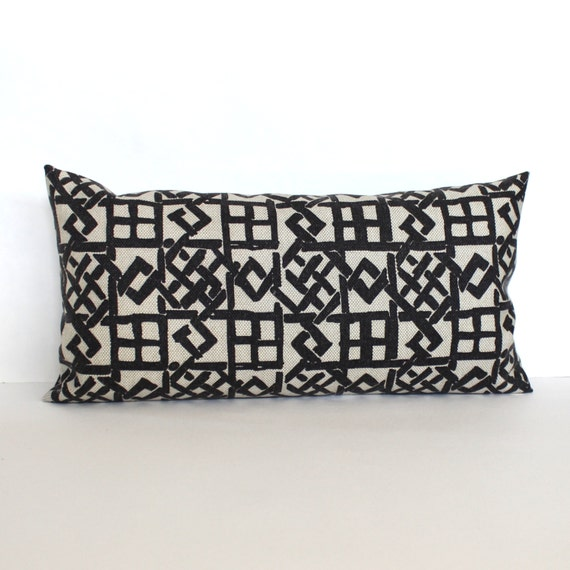 Decorative Black Lumbar Pillow : Lumbar Pillow Cover Black Beige Geometric Trellis Decorative