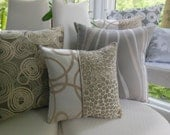 Beige Pillow Brown Pillow Taupe Swirl Pillow - Beige Satiny Feathers - Satiny Squiggle - Three Fabrics Reversible 15 Inch - Bedroom Decor