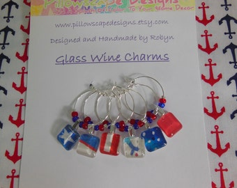 Red Wine Charms - Patriotic - Red White and Blue - Labor Day - Memorial Day - Set of Six - Glass Wine Charms - Pillowscape Designs