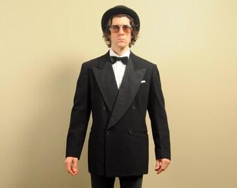 mens vintage tuxedo jacket 30s 40s mens tux jacket 1930 1940 double breasted 4x1 peak lapel Thalhimers 40L 42L 40 42 Long