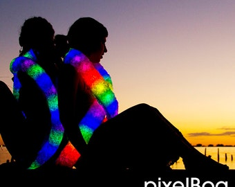 Pixel Boa - Light up Faux Fur Glow LED Scarf //Burning Man // Playa // Music Festivals, by Moodhoops