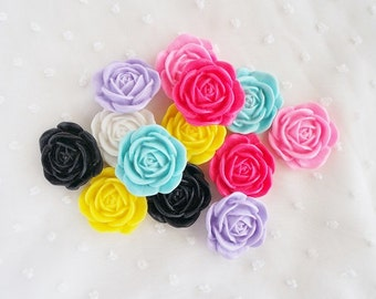 7pcs - Large Blooming Rose Mix Decoden Cabochon (35mm) FXL10009