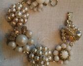 vintage cluster beaded earring bracelet wedding white bride