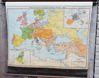 Europe Map After the Congress of Vienna 1815 Nystrom Classroom School Retractable Pull Down Map Wall Hanging Decor