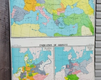 Unification of Germany Europe After Congress of Berlin 1878 George F. Cram Double Retractable Map Wall Hanging Decor School Classroom