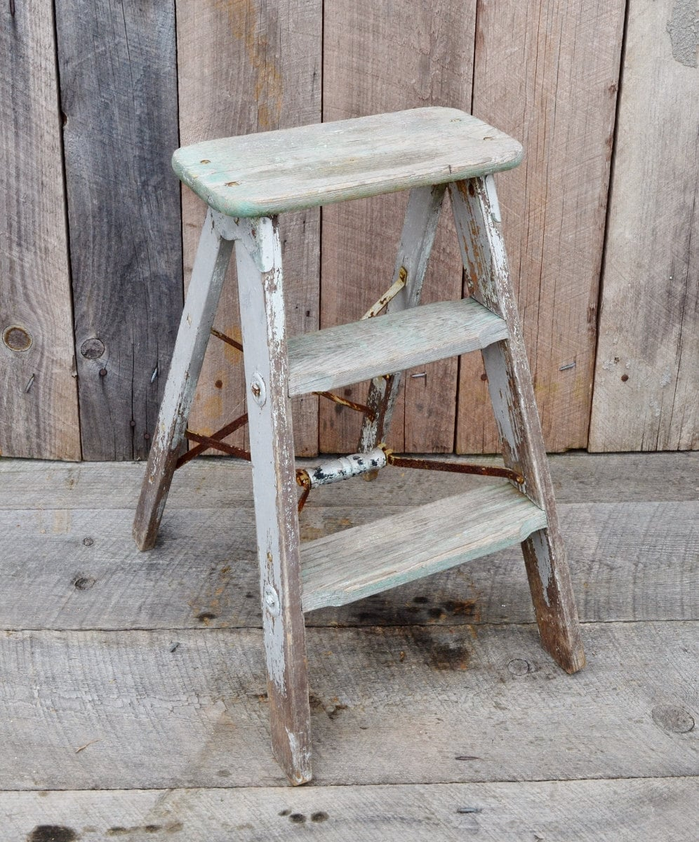 Vintage Weathered Wood Step Ladder Small Step Stool Silver
