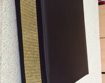 Custom Made Black Satin with Gold Rhinestone Bling  Accent Cake Stand 18 x 18 Wood