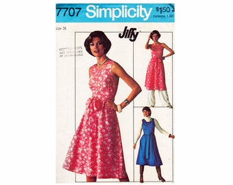 1970s Jiffy Pattern Wrap Dress and Pants UNCUT Vintage 70s Sewing Pattern Simplicity 7707 Size 16 Bust 38 Vintage Boho Chic Fashion