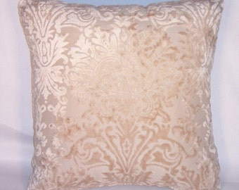 "Light Beige Sculpted Damask Chenille Throw Pillow, 16"" square, Ready to ship, Cover and Insert, Cut Velvet Floral Pillow"