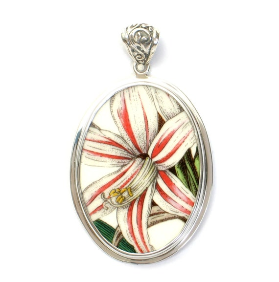 Broken China Jewelry Portmeirion Botanic Garden Belladonna Lily Flower Sterling Large Oval Pendant