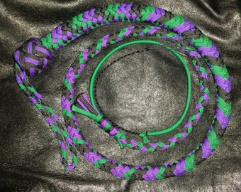 Black, Purple, and Green Snake Whip - Choose Your Size - Made To Order