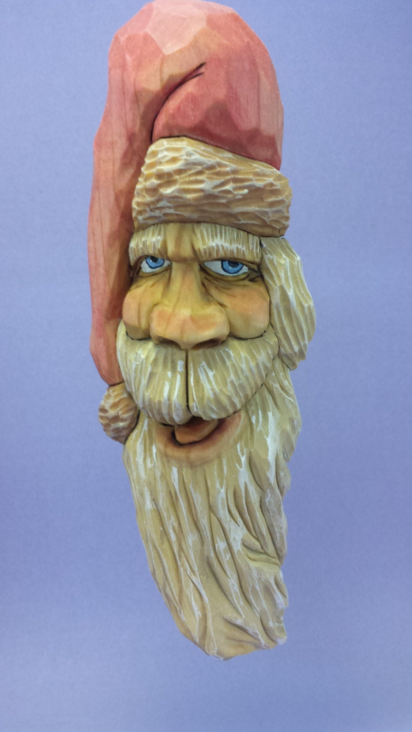 Hand carved santa claus ornament wall by oldbearwoodcarving