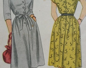 1945 Simplicity Button Front Dress Sewing Pattern 1549, Size 12, Bust 30, Factory Folded