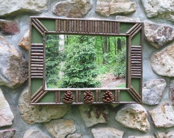 Twig and Pine Cone Mirror in Sage Green Crackle Finish