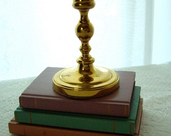 Vintage heavy solid polished brass candlestick 1980s