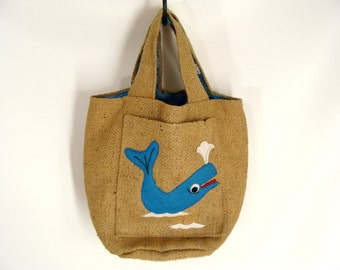 TEMP REDUCED was 24.44 vintage Burlap Bag Purse with Blue Felt Whale and Bandanna Print Lining from Squirrel's Nest in Ross California Surf