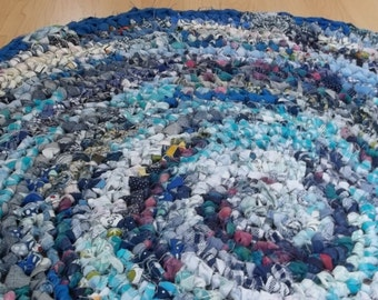 Round Blue Crocheted Kitchen, Bed Side or Hearth Rag Rug