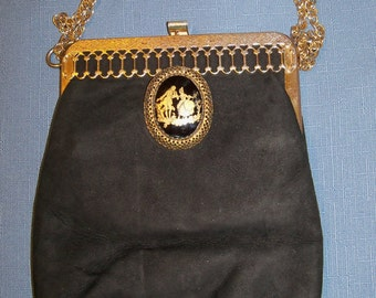Vintage Handbag Black Suede Gold Trim Evening Purse Wedding Accessories Bridal Party Prom Opera Gift Guide Women