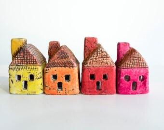 Orange Tiny Ceramic House