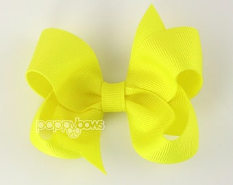 Sunshine Yellow 3 Inch Boutique Hair Bow - Baby Toddler Girl - Solid Color with Non Slip Grip Bright Neon Yellow Hairbows