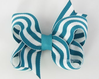 Turquoise and White Striped Hair Bow - Baby Toddler Girl Hairbow - 3 Inch Boutique Bow on Alligator Clip Barrette Preppy Taffy