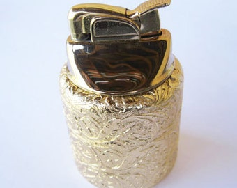 Evans Gold Plate Lighter Napier Sleeve Leaf Design 1950s Mid Century Modern