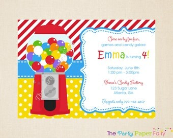 Gumball Invitation, Candy Invitation, Candy Birthday Invitation, Candy Party Invitation, Gumball Machine Invitation, Gumball Birthday