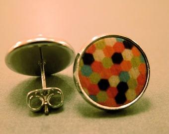 Wooden Polka Dot Studs: Rainbow Coloured Wooden Polka Dot Earrings, Fake Plugs, Polka Dot, Patterned, Rainbow