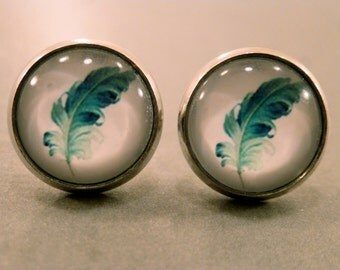 Feather Studs: Turquoise Feather Cabochon Earrings, Feather, Feather Jewelry, Turquoise, Water Colour