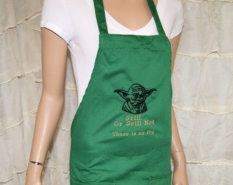 Parody Yoda Grill or Grill Not Embroidered Green Chef Apron MTCoffinz