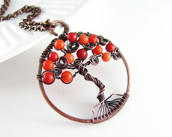 Tree Of Life Necklace Wire Wrapped Pendant Orange Quartzite Necklace Copper Jewelry Wire Wrapped Jewelry Copper Necklace Tree Necklace