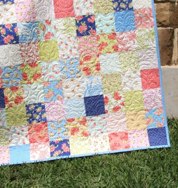 Aloha girl quilt kit fig tree moda fabrics precut squares peach pink blue coral yellow beach - Do it yourself moda ...