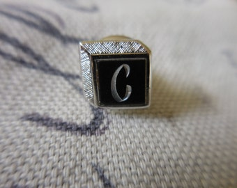 """Vintage """"C"""" Silver Tone and Black Swank Tie Tack Square NOS Letter Initial 1960s Mans Accessory"""